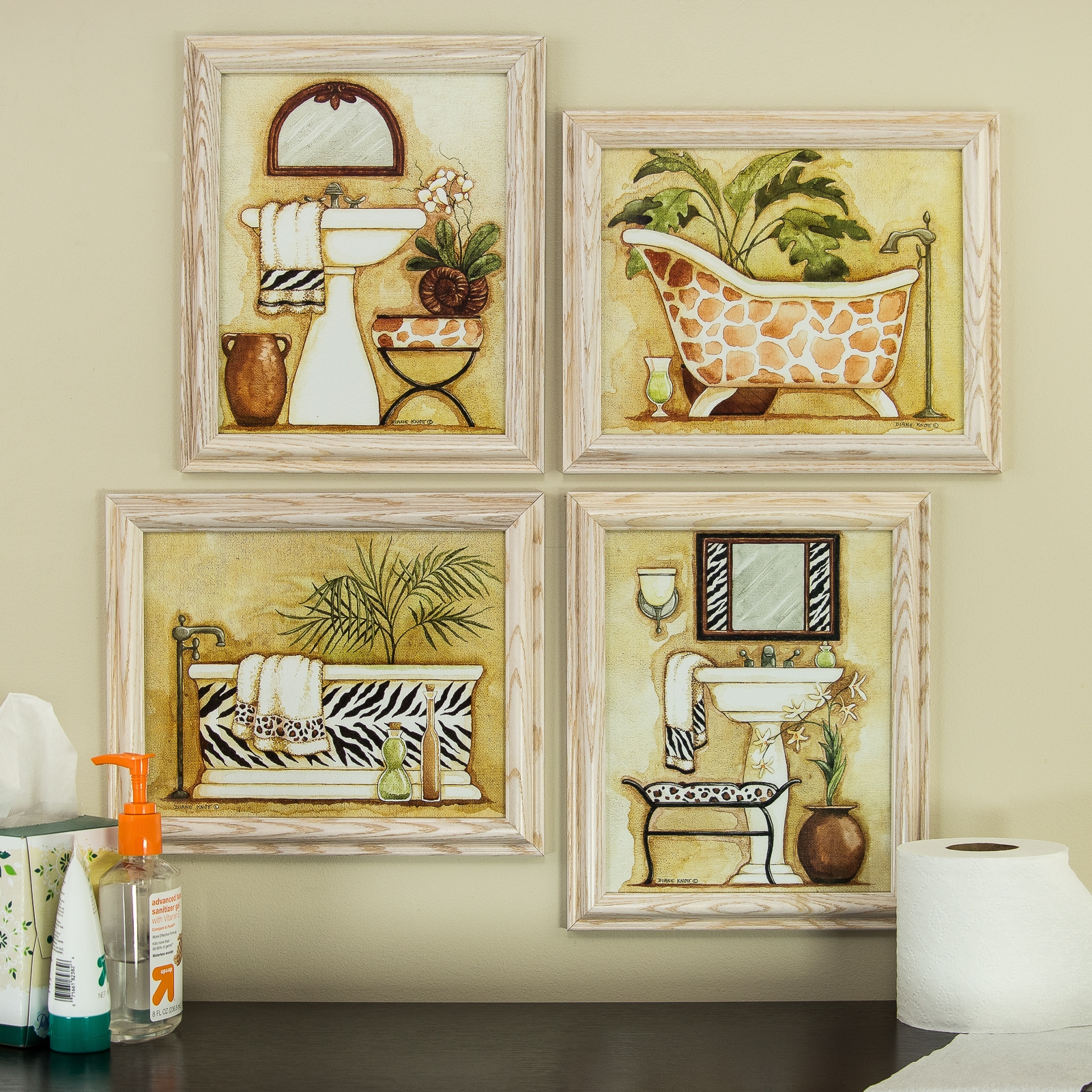 Safari, 8x10 Framed Bathroom Wall Art Set In White